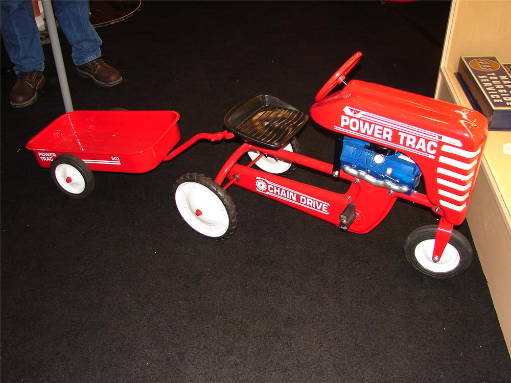 Addendum Item - Rare 1950s Garton restored pedal tractor and trailer.  Complete with original tires. - Front 3/4 - 95134