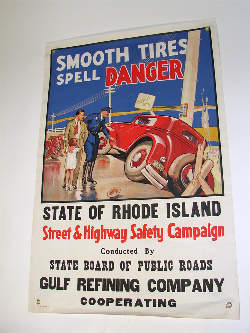 Exceptional N.O.S. late 1920s-early 1930s State of Rhode Island Gulf Refining canvas service station banner. - Front 3/4 - 97093