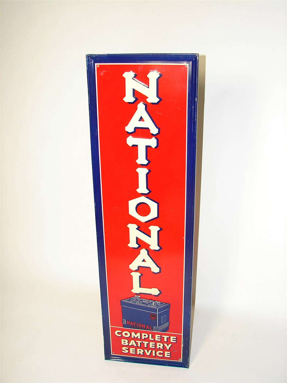Choice 1930s National Batteries single-sided self-framed vertical tin garage sign with battery graphic. - Front 3/4 - 97104