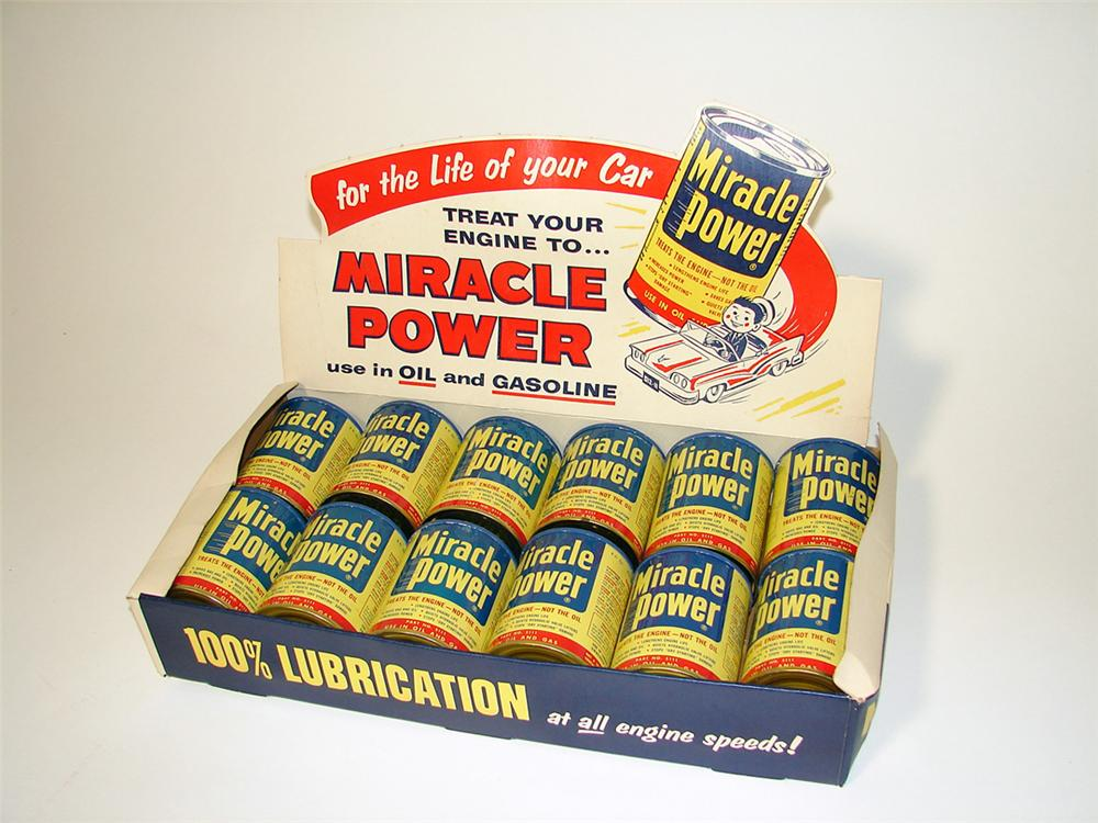 Wonderful 1950s Miracle Power fuel additive counter-top store display with twelve still full tins. Never used! - Front 3/4 - 97109