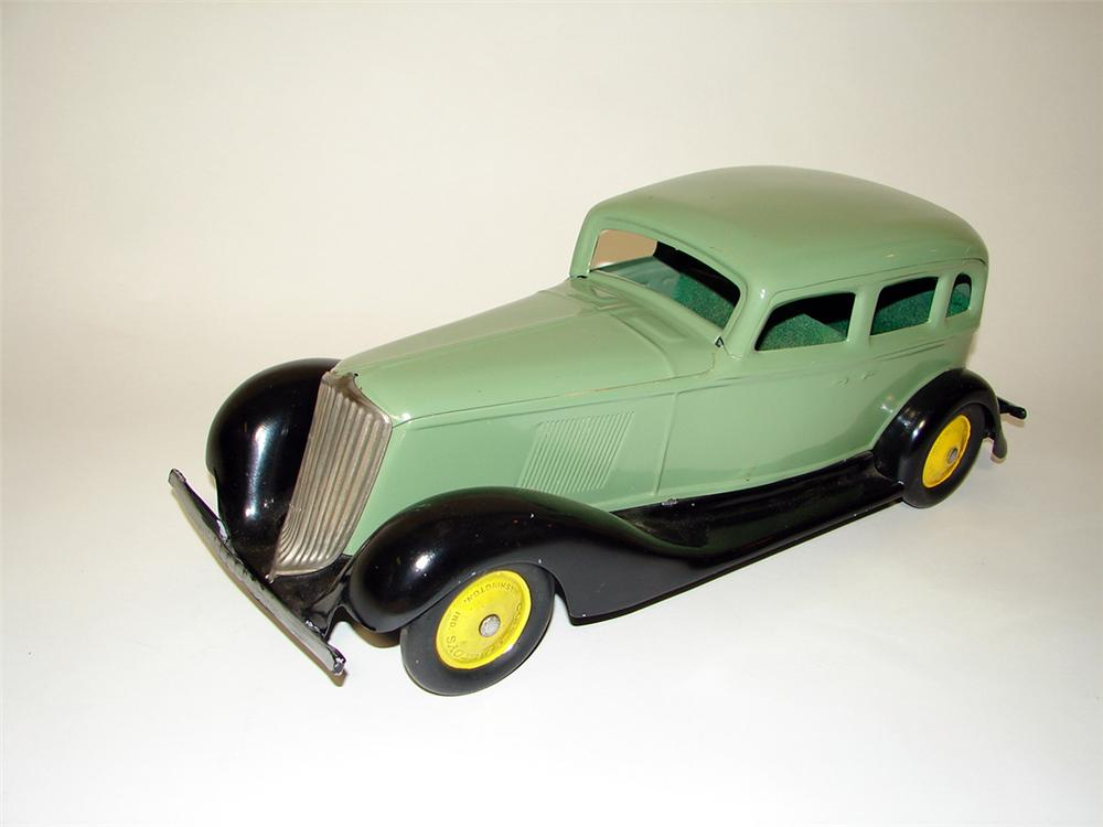 Scarce 1930s Graham over-sized pressed steel sedan manufactured by Cor-Cor Toys of Washington, Indiana. - Front 3/4 - 97110