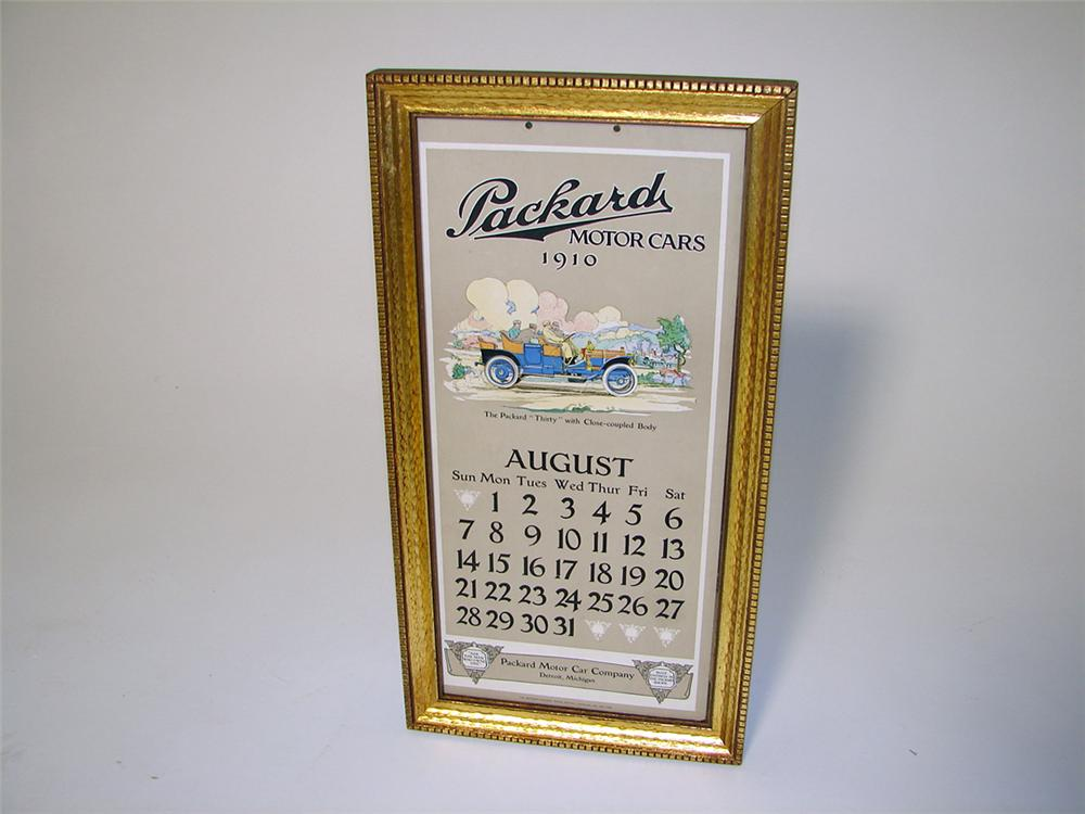 Museum quality August 1910 Packard Automobiles showroom cardboard calendar with amazing graphics. - Front 3/4 - 97112
