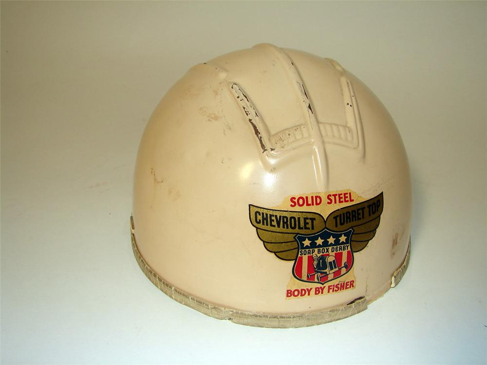 1940s Chevrolet Body By Fisher Solid Steel Soap Box Derby helmet. - Front 3/4 - 97114