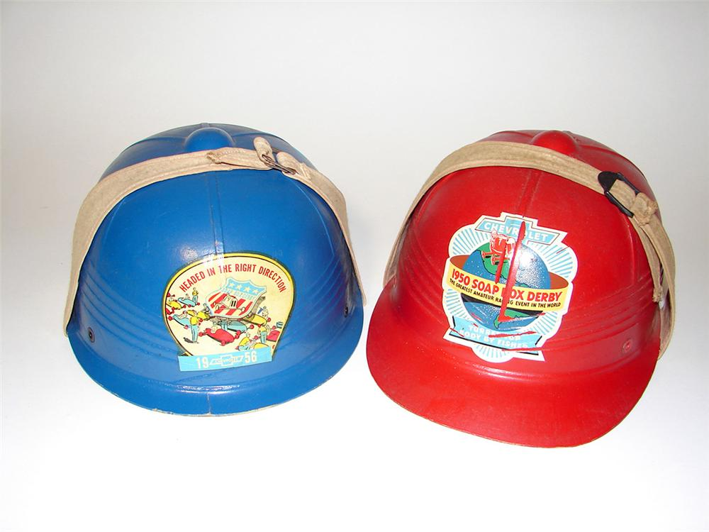 Pair of vintage Chevrolet Soap Box Derby helmets for 1950 & 1956. - Front 3/4 - 97115