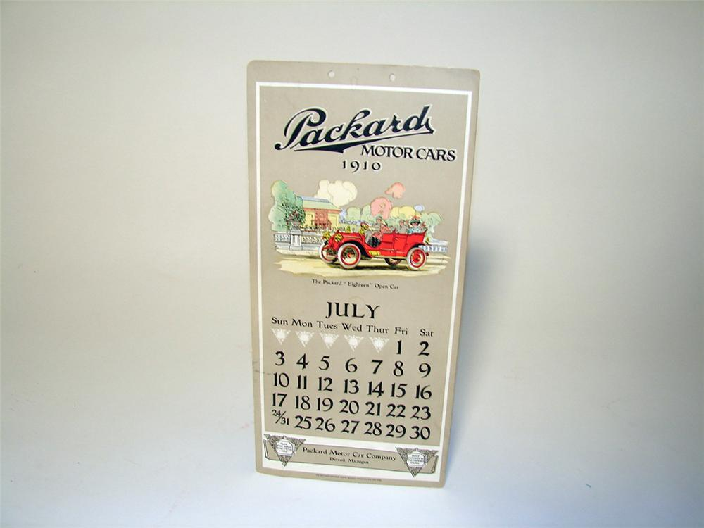 Impressive July 1910 Packard Automobiles single-sided cardboard showroom calendar. - Front 3/4 - 97116