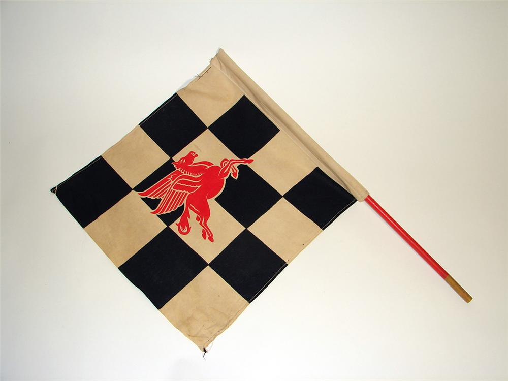 Authentic 1940s-50s Mobil Oil race track checkered flag. - Front 3/4 - 97121