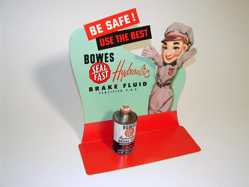 Neat N.O.S. 1950s Bowes Seal Fast Brake Fluid single-sided die-cut cardboard counter-top display sign with tin. - Front 3/4 - 97123