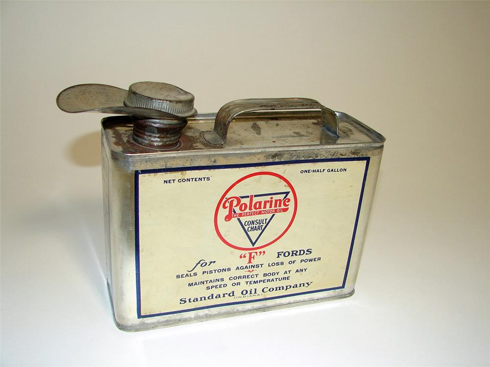 "Early 1920s Standard Polarine for ""F"" Fords Motor Oil one-half gallon solder seemed tin with spout. - Front 3/4 - 97125"