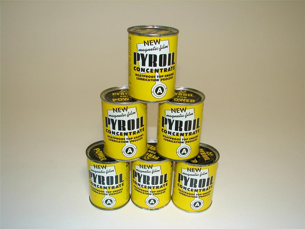 N.O.S. set of six N.O.S. Pyroil Concentrate Fuel Additive four ounce tins. - Front 3/4 - 97130