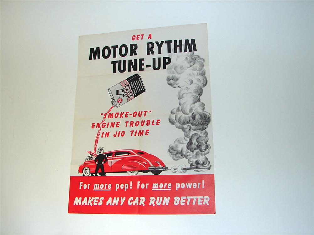N.O.S. early 1950s Whiz Motor Rhythm Tune-Up service garage poster. - Front 3/4 - 97131