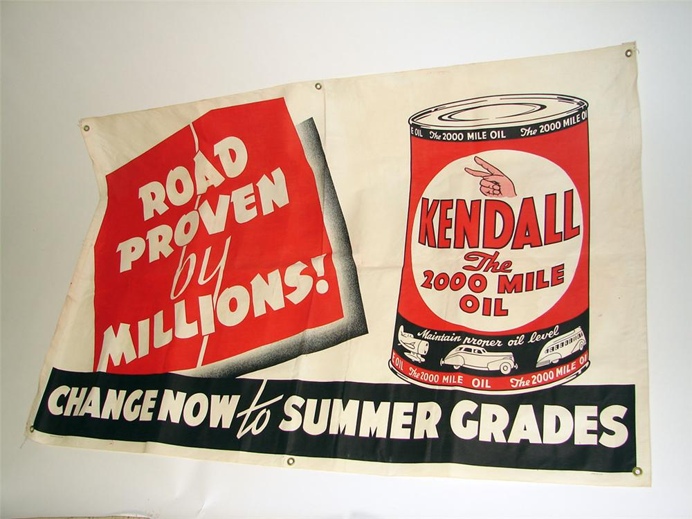 "N.O.s. 1940s-50s Kendall Motor Oil ""Road Proven"" canvas service station banner with can graphics. - Front 3/4 - 97133"