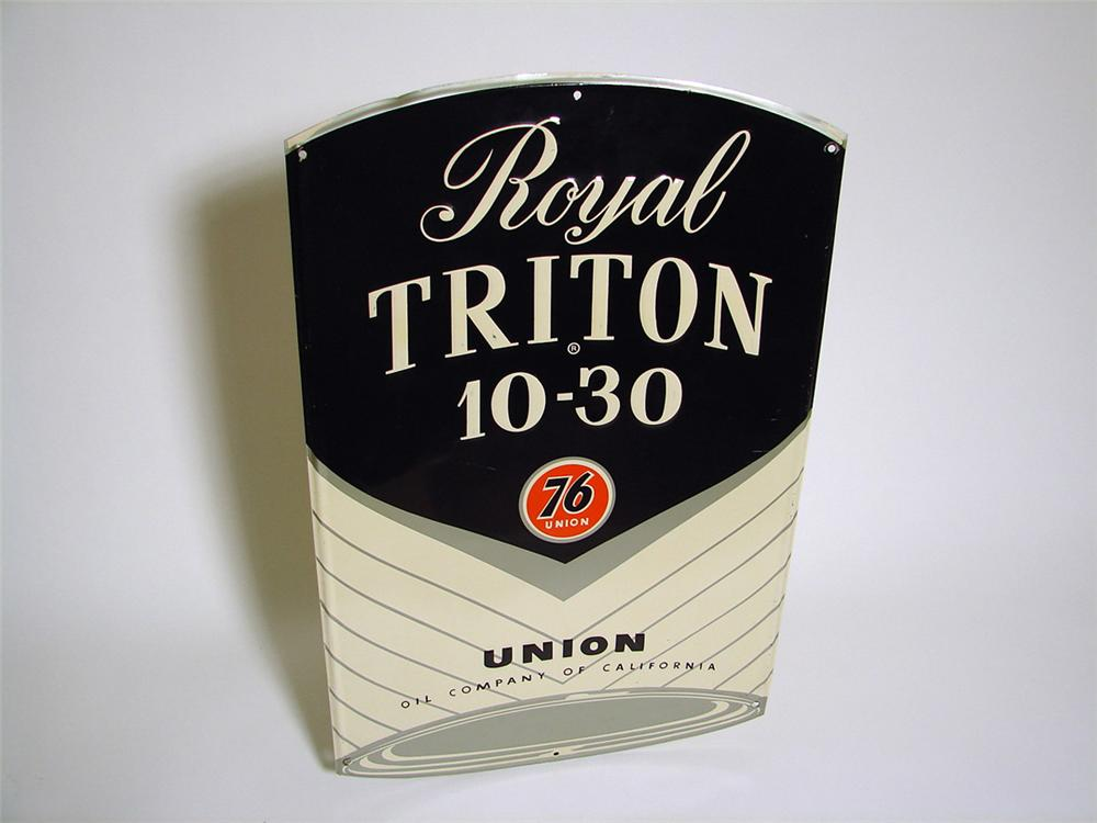 N.O.S. late 1950s-early 60s Union 76 Royal Triton single-sided can-shaped tin sign. - Front 3/4 - 97136