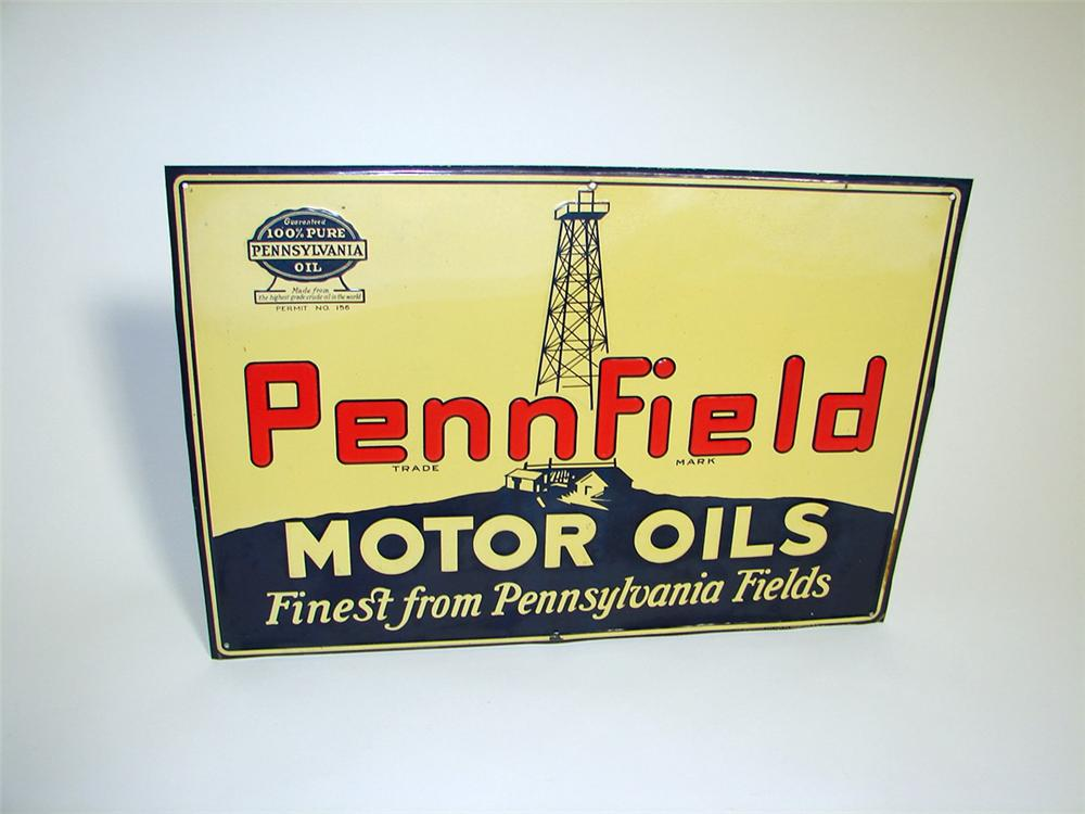 Good looking N.O.S. 1930s Pennfield Motor Oils single-sided tin embossed garage sign with Oil Derrick graphic. Pulled out of... - Front 3/4 - 97141