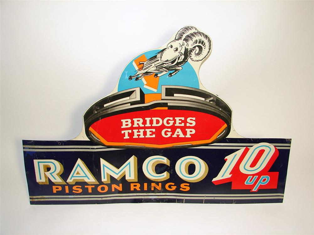 Never before seen large 1930s Ramco Piston Rings parts department single-sided tin painted sign with Ram/Piston graphic. - Front 3/4 - 97142