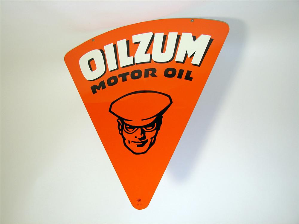 Hard to find N.O.S. late 1950s-early 60s Oilzum Motor Oil double-sided tin painted garage sign with Oilzum man depicted. - Front 3/4 - 97144
