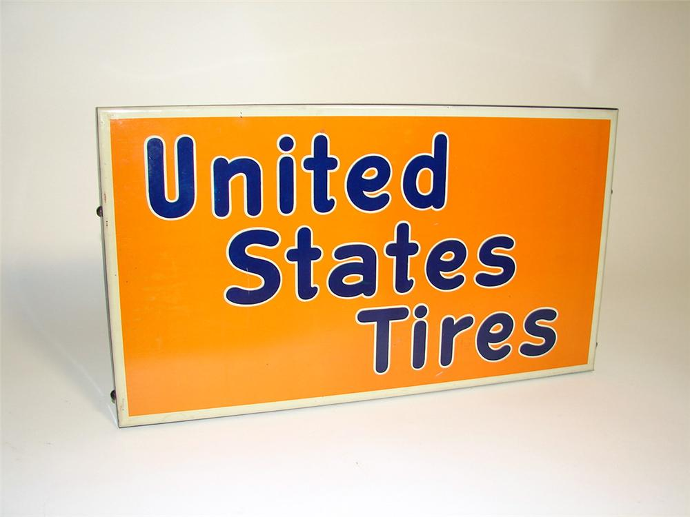 N.O.S. 1930s United State Tires single-sided tin painted automotive garage sign. - Front 3/4 - 97146