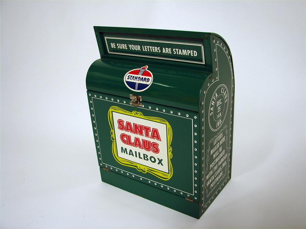 Very cool 1950s-60s Standard Oil service station Santa Claus metal mail box. - Front 3/4 - 97149