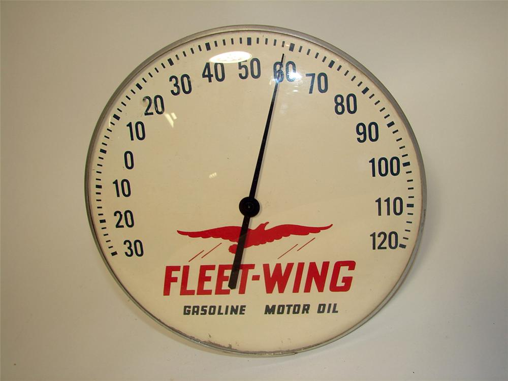 Scarce 1950s Fleet Wing Motor Oil glass faced service station dial thermometer. - Front 3/4 - 97153
