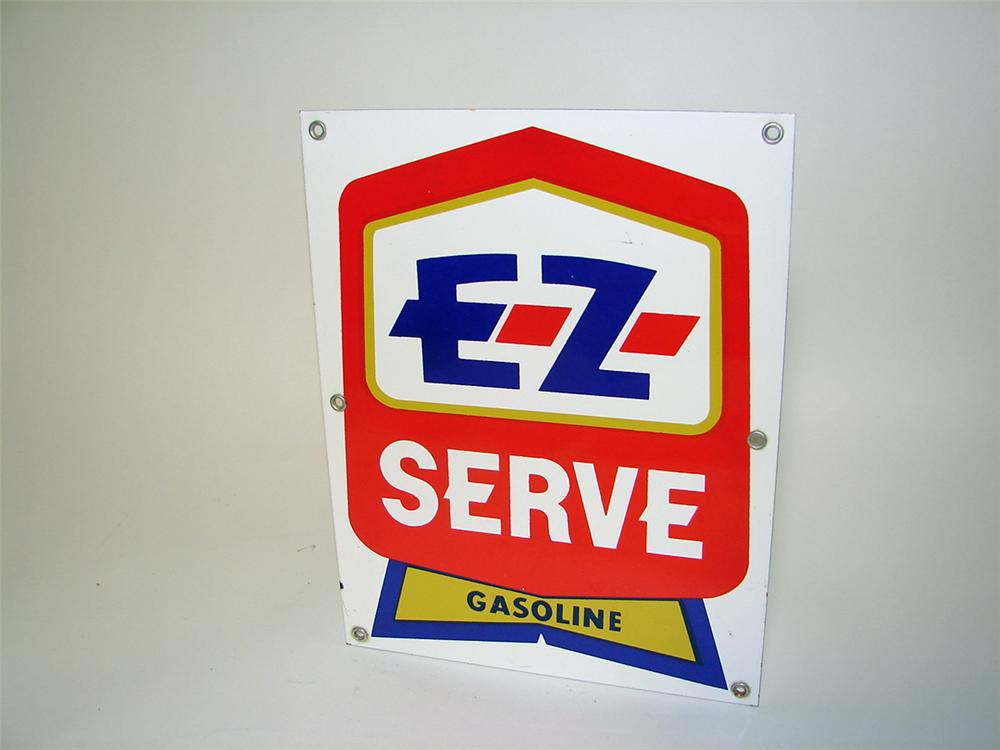N.O.S. EZ Serve Gasoline single-sided porcelain service station sign. - Front 3/4 - 97154
