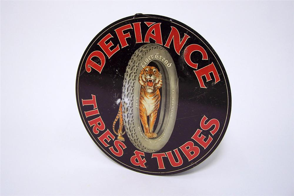 Impressive late 1920-s Defiance Tires and Tubes single-sided tin litho garage sign with killer Tiger with Tire graphics. - Front 3/4 - 97157