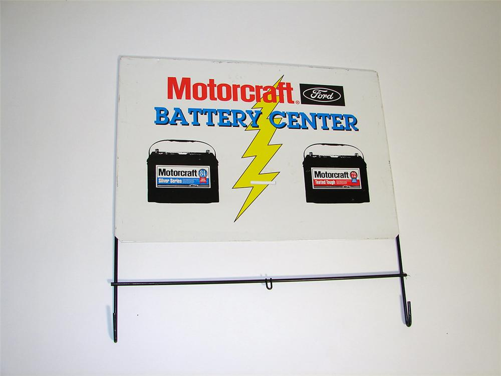 N.O.S. Motorcraft Battery Center tin rack top sign with battery graphic. - Front 3/4 - 97158