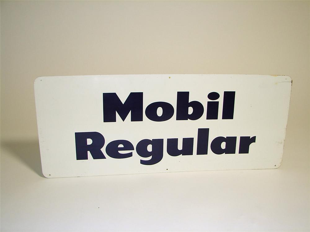 Unusual 1950s Mobil Regular single-sided tin painted station sign. - Front 3/4 - 97159