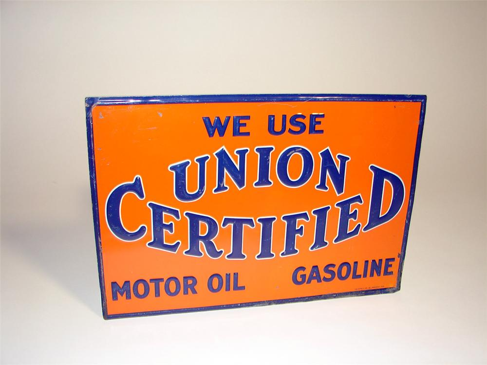 Sharp 1920s-30s Union Certified Gasoline - Motor Oil single-sided embossed tin garage sign. - Front 3/4 - 97160