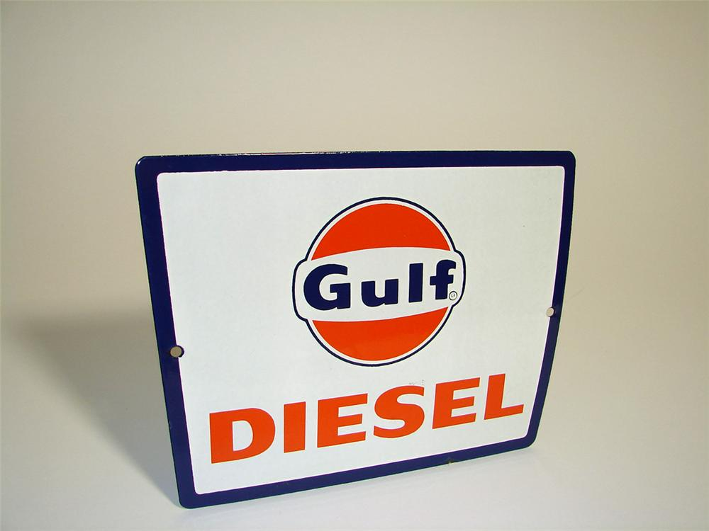 Hard to find N.O.S. 1950s Gulf Diesel porcelain pump plate sign. - Front 3/4 - 97165