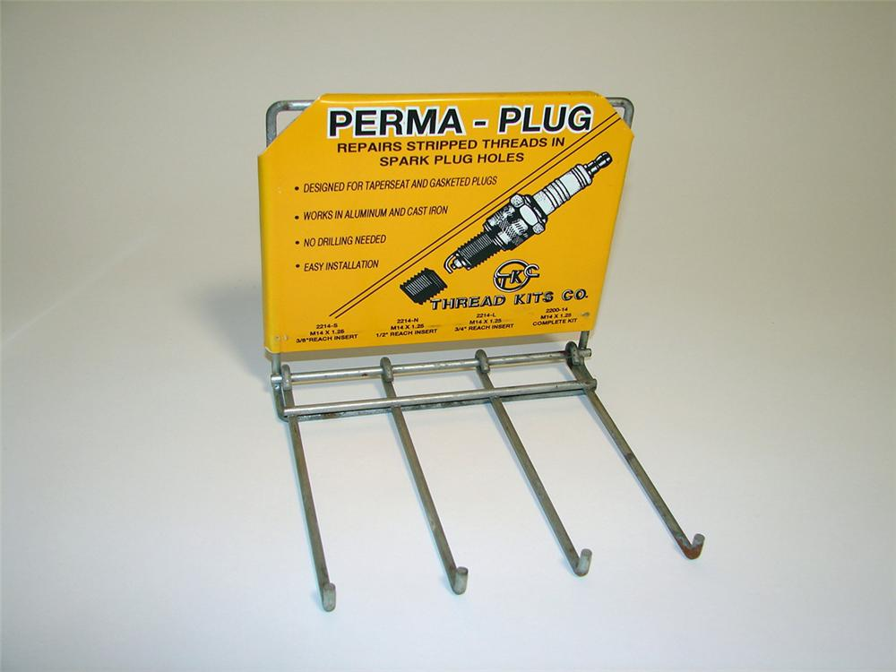 Sharp N.O.S. Perma Plug vintage service department display rack with spark plug graphic. - Front 3/4 - 97166
