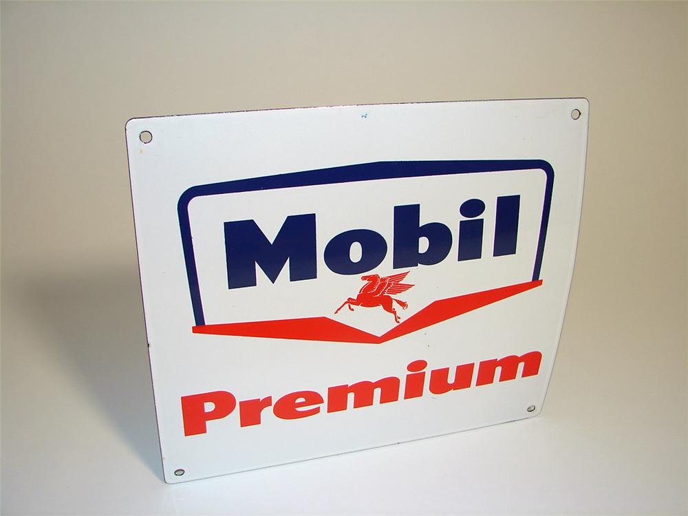 N.O.S. late 1950s Mobil Premium single-sided porcelain pump plate sign with Pegasus logo. - Front 3/4 - 97167