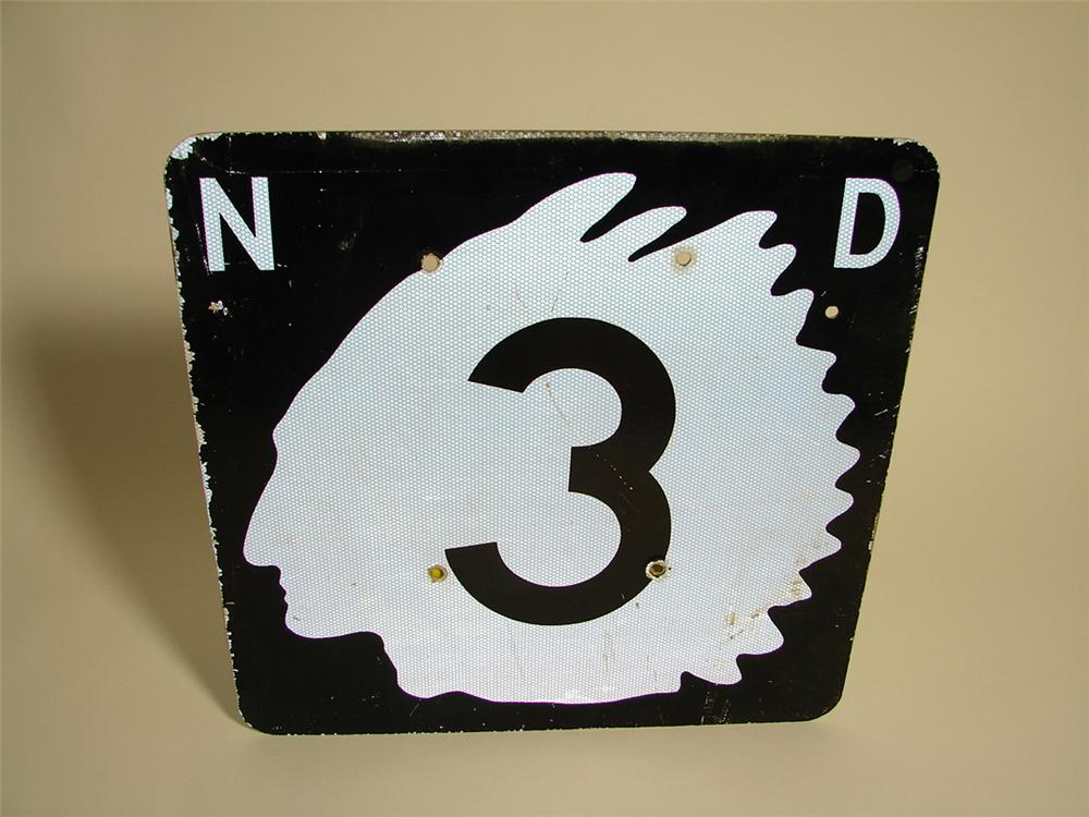 Fabulous vintage North Dakota highway sign with Sioux Indian Chieftain logo. - Front 3/4 - 97168