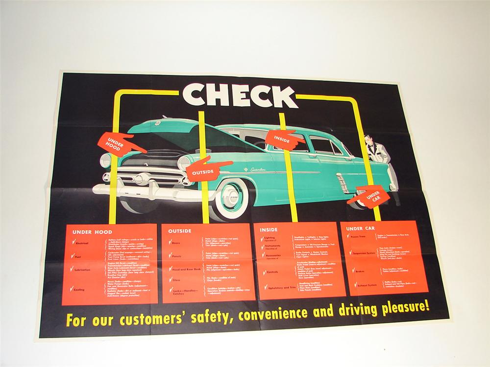 Colorful N.O.S. circa 1952 Ford service department inspection poster with period sedan depicted. - Front 3/4 - 97173