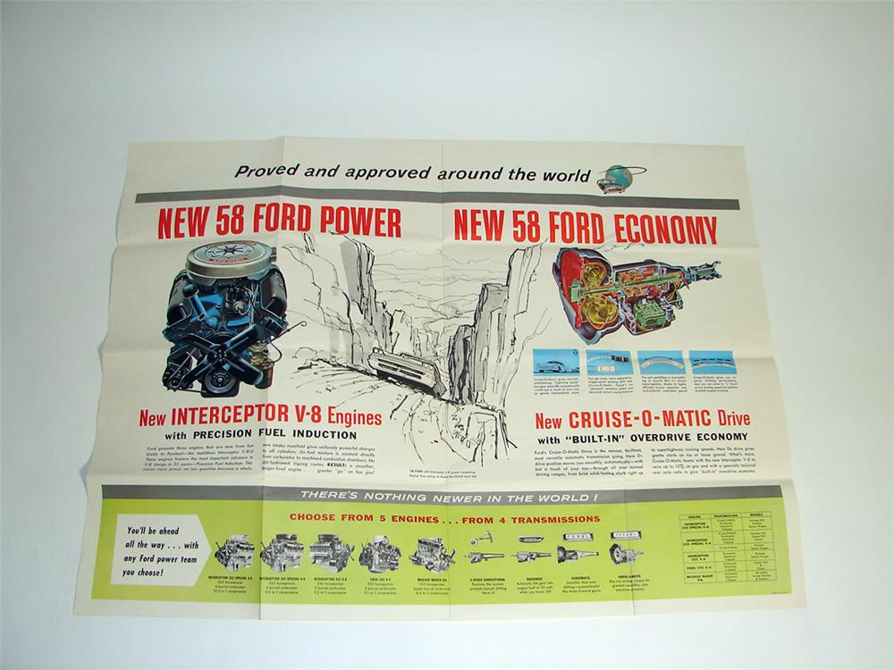 Killer N.O.S. 1958 Ford Power Engines and Cruise-O-Matic transmissions dealer showroom poster introducing the new Intercepto... - Front 3/4 - 97174