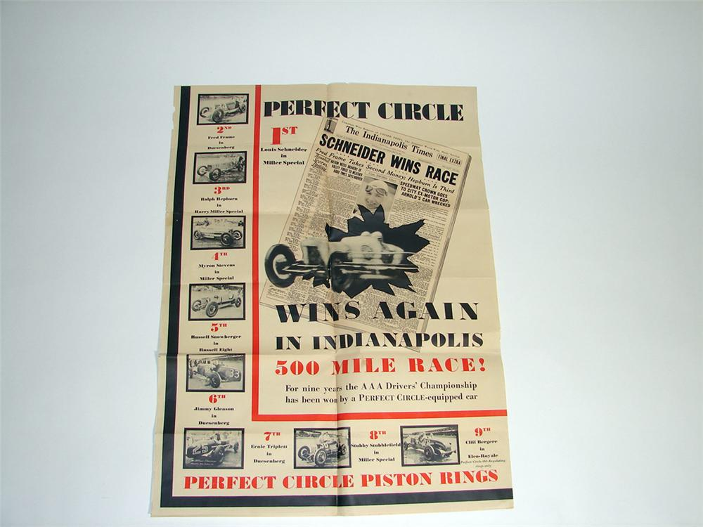 Significant 1931 Indianapolis 500 - Perfect Circle Piston Rings poster featuring all who placed that year. - Front 3/4 - 97175
