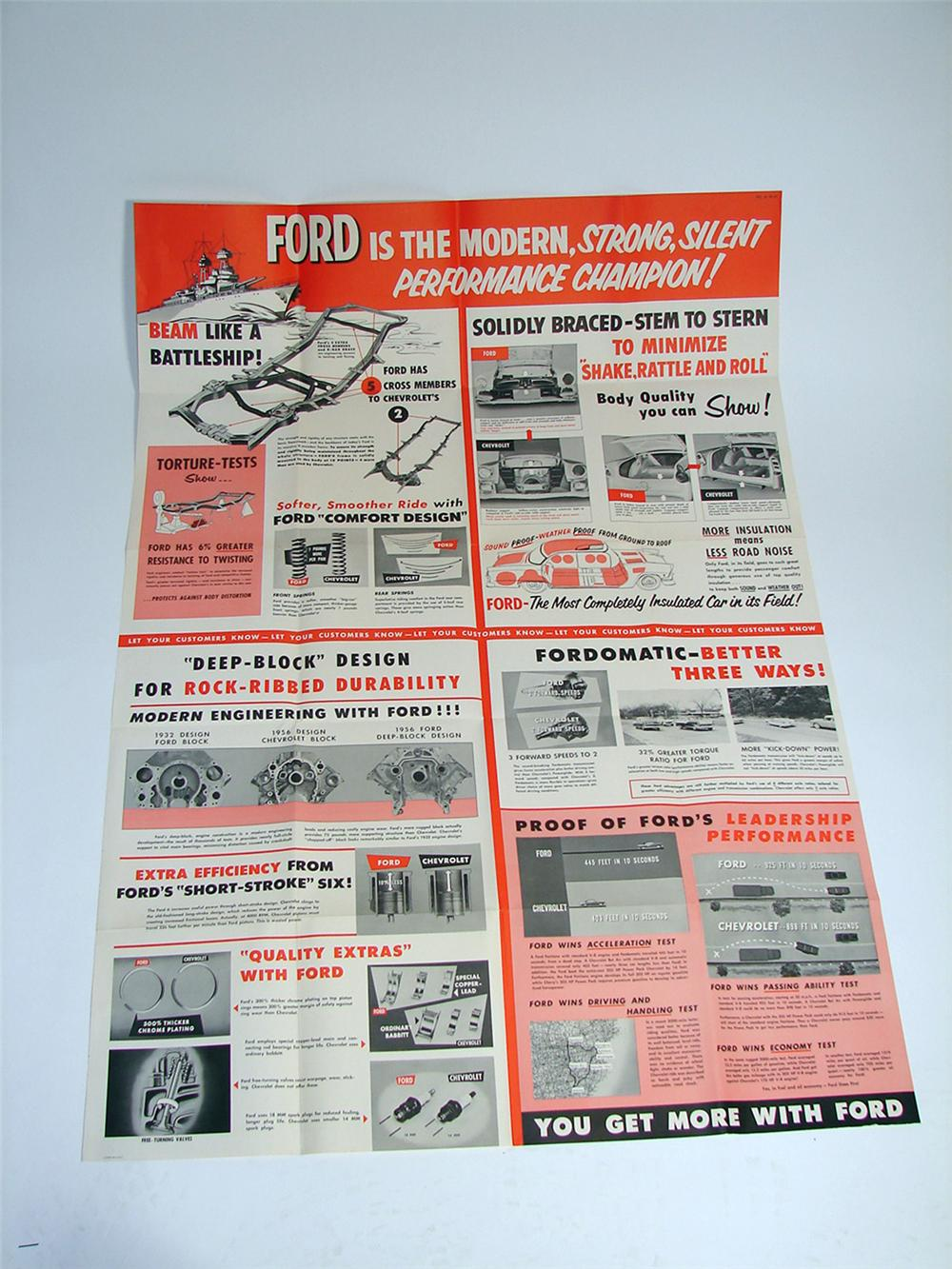 "Impressive large N.O.S. 1956 Ford ""Performance Champion"" dealer showroom poster covered with specifications and photos. - Front 3/4 - 97176"