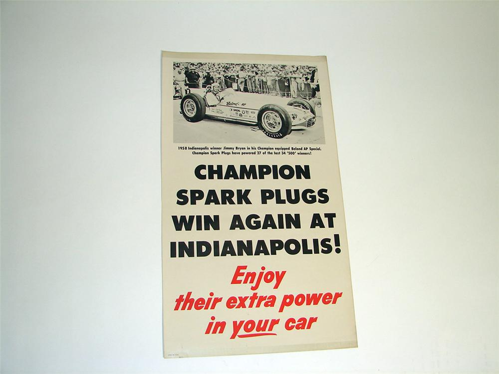 Stellar N.O.S. 1958 Indianapolis 500 - Champion Spark Plugs automotive garage poster featuring Indy Winner Jimmy Bryan and h... - Front 3/4 - 97258