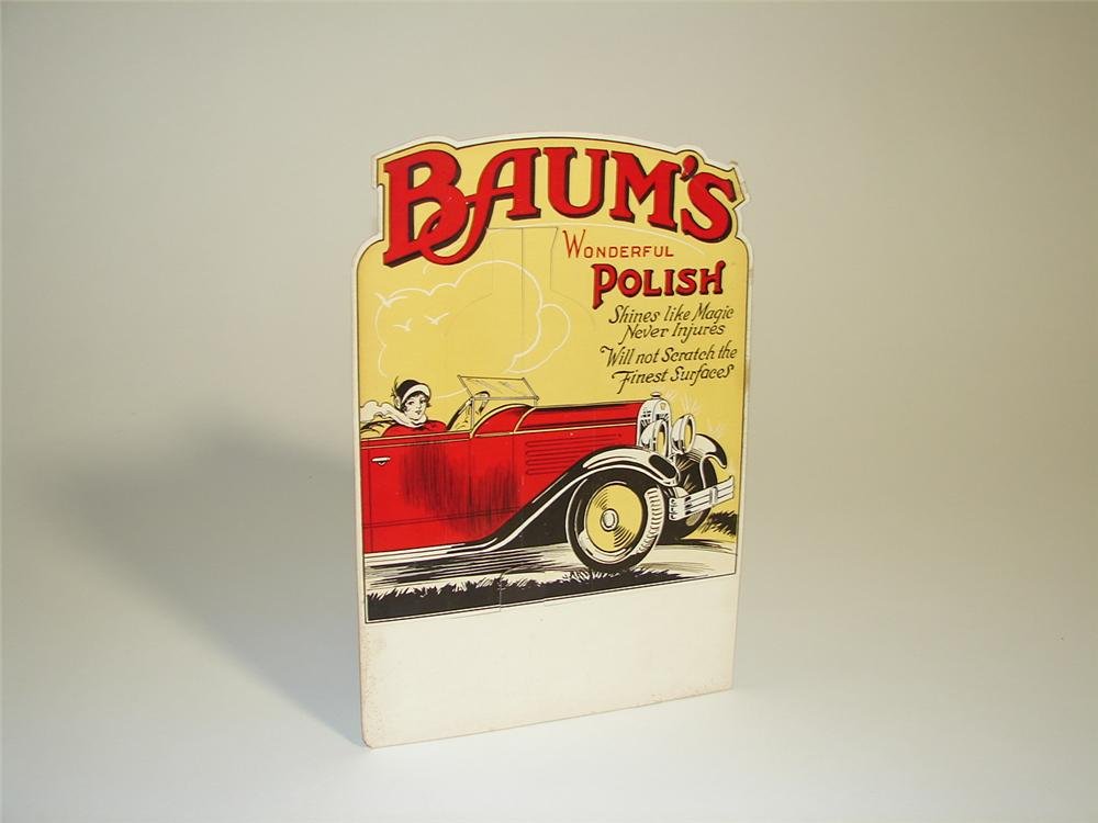 Remarkable N.O.S. late 1920s-30s Baums Automotive Polish service station display cardboard sign with touring car depicted. - Front 3/4 - 97259
