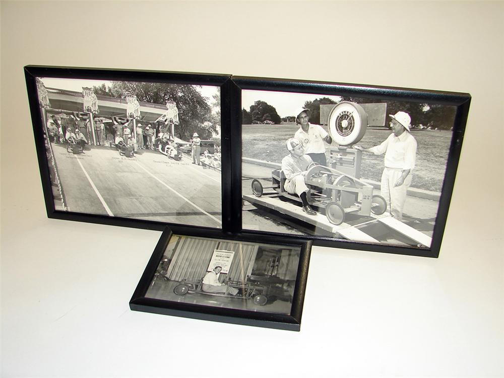 Lot of three 1950s Chevrolet Soap Box derby original photos in frames. - Front 3/4 - 97261