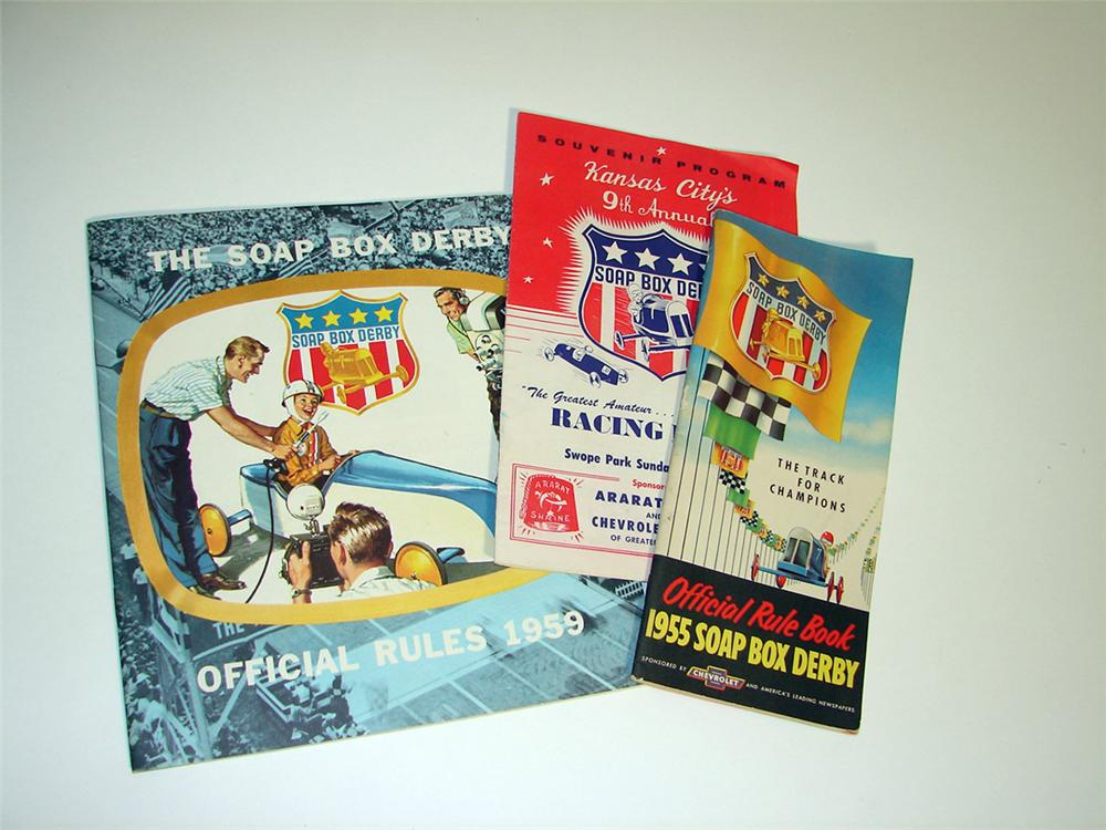 Lot of three Chevrolet Soap Box Derby Programs and Rule Books for 1955 and 1959. - Front 3/4 - 97262