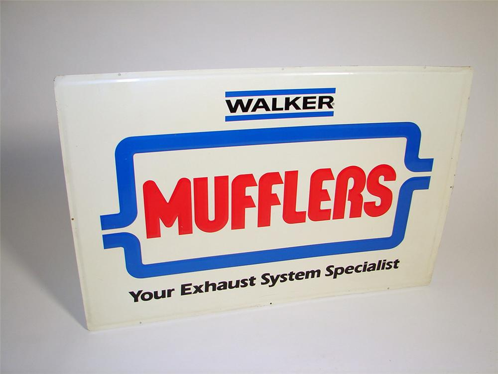 Very clean Walker Mufflers single-sided embossed tin garage sign. - Front 3/4 - 97265