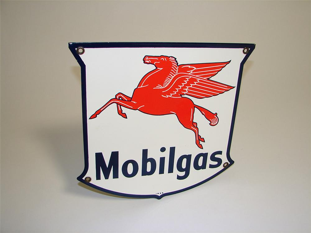 Wonderful N.O.S. 1954 Mobilgas die-cut shield-shaped porcelain pump plate sign with Pegasus logo. - Front 3/4 - 97267