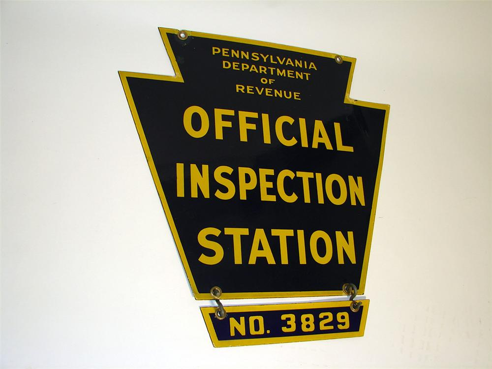 1940s Pennsylvania Official Inspection Station double-sided porcelain sign. - Front 3/4 - 97269