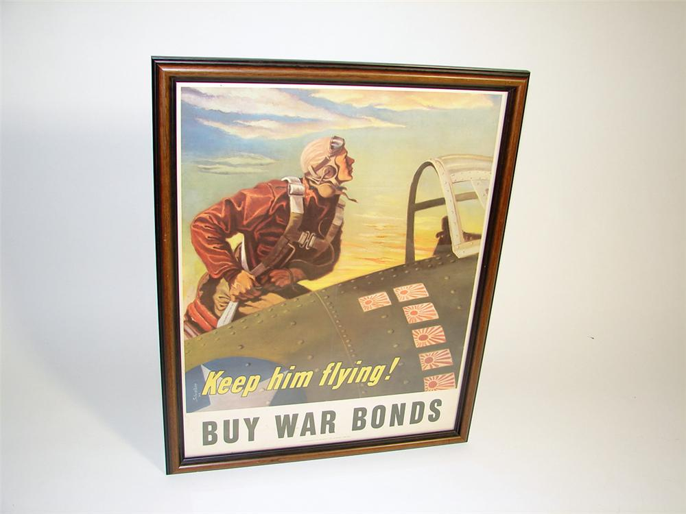 "Stupendous 1943 ""Keep Him Flying"" Buy War Bonds Aviation themed poster in frame. - Front 3/4 - 97270"