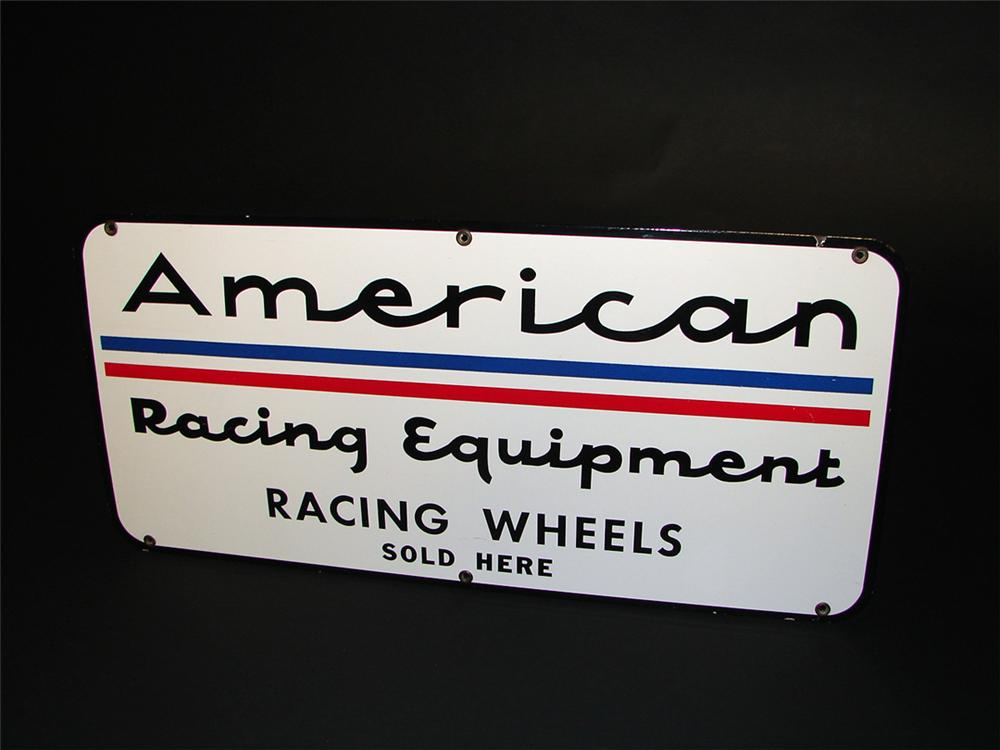 Extremely rare 1960s American Racing Equipment Racing Wheels Sold Here single-sided porcelain dealer sign. - Front 3/4 - 97273