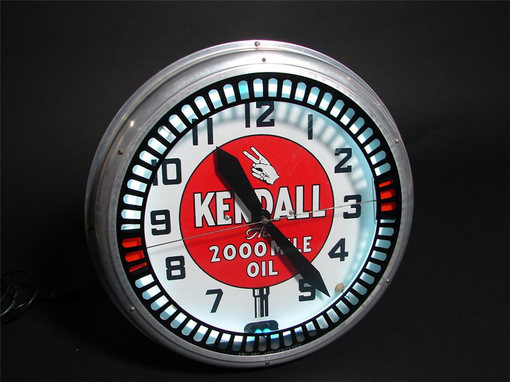 Spectacular 1930s Kendall Motor Oil neon station clock with animation wheel. - Front 3/4 - 97274