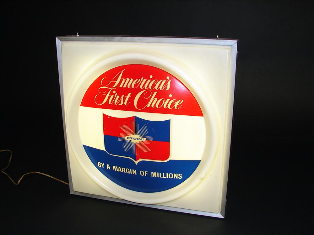 Superb 1950s Chevrolet Americas First Choice single-sided light-up dealer showroom sign. - Front 3/4 - 97275
