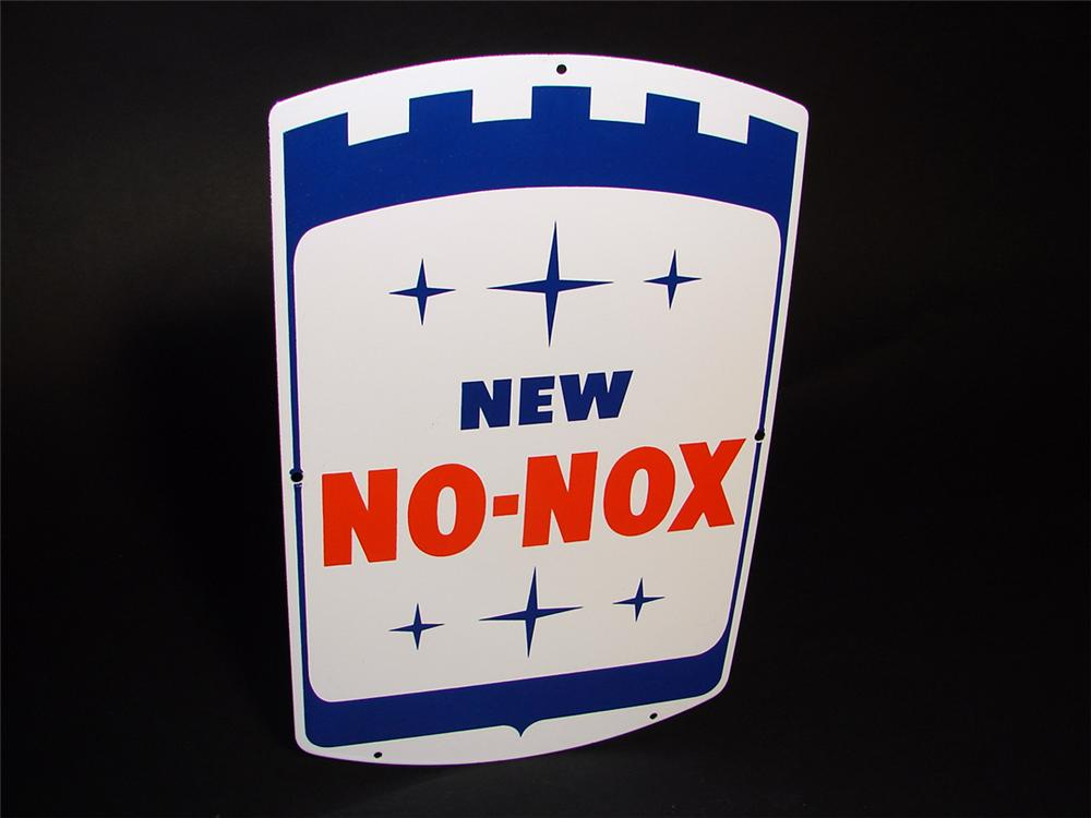 N.O.S. Gulf No-Nox single-sided porcelain pump plate sign. - Front 3/4 - 97297