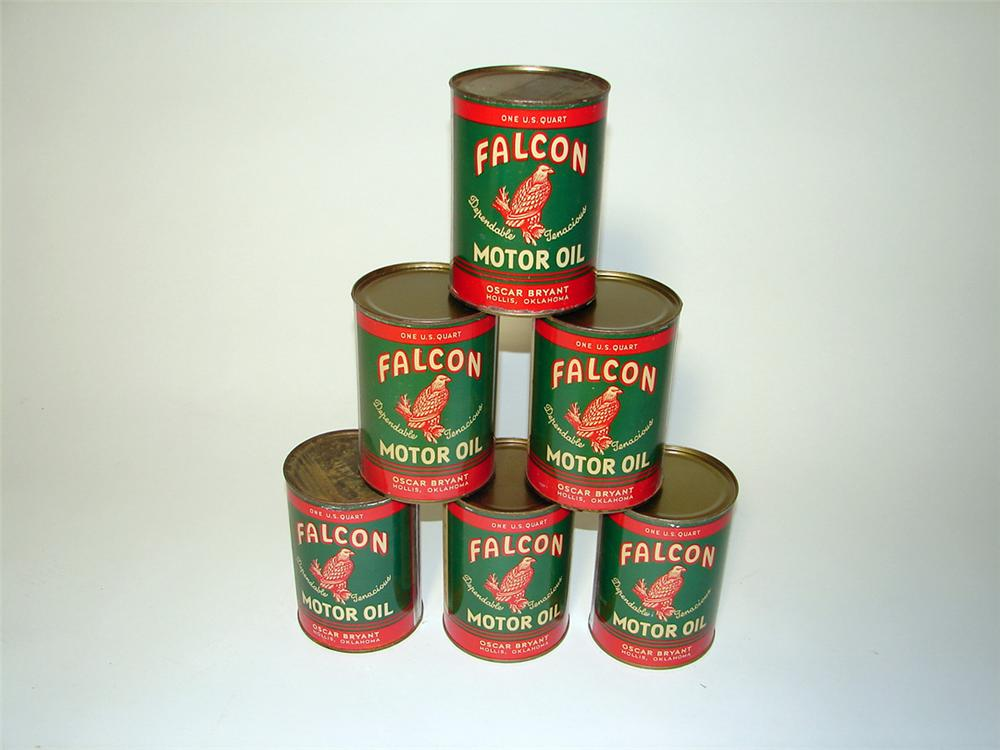 Lot of six N.O.S. 1930s-40s Falcon Motor Oil metal quart cans with outstanding colors and graphics. - Front 3/4 - 97306