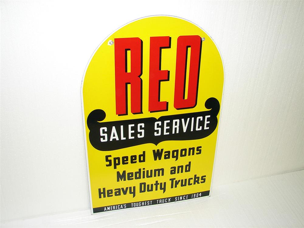 Extremely rare REO Sales-Service double-sided porcelain dealership sign. - Front 3/4 - 97307