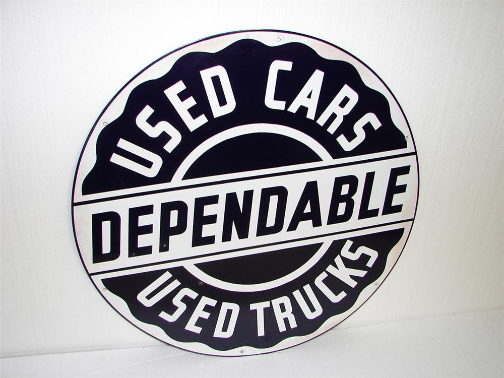 Phenomenal 1950s Dodge Dependable Used Cars single-sided porcelain dealership sign. - Front 3/4 - 97311